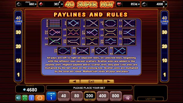 40 Super Hot Slot Paylines