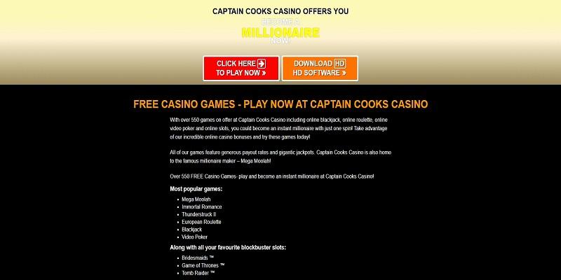 Captain Cooks Casino Casino Games