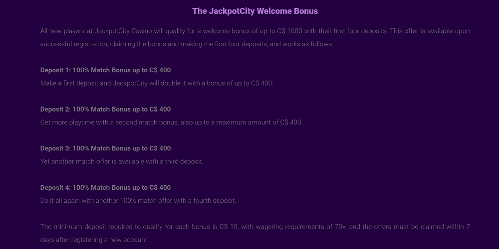 JackpotCity Online Promotions