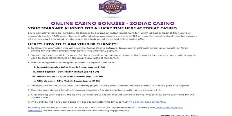 Zodiac Online Casino Welcome Bonuse